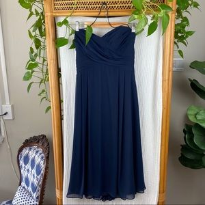 BILL LEVKOFF  STRAPLESS NAVY BLUE DRESS TEA LENGTH